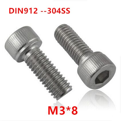 500 peças din912 m3 * 8 parafuso de aço inoxidável 304 A2-70 parafusos de cabeça de soquete hexágono m3x8mm hex allen cilindro máquina parafusos parafuso