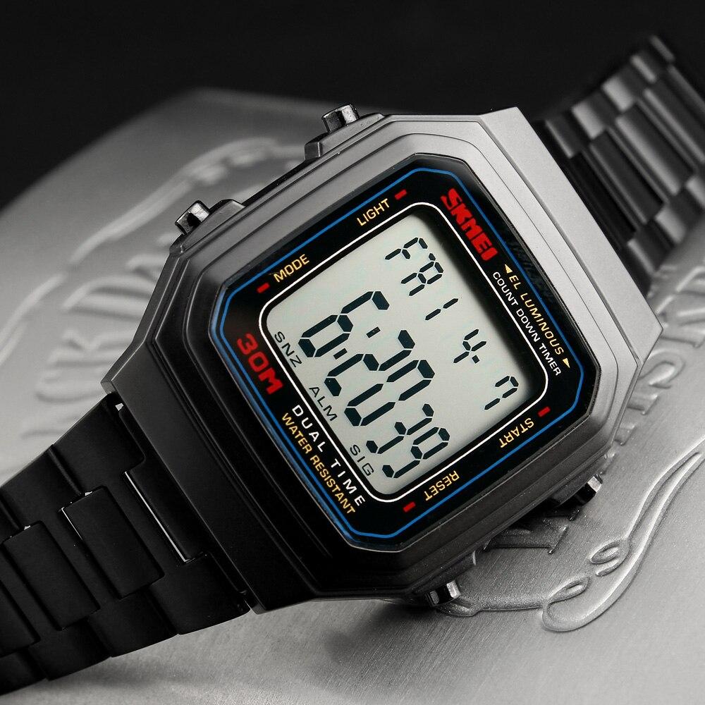 SKMEI hommes montres Top marque sport de luxe montre numérique compte à rebours étanche en acier inoxydable montre LED Relogio Masculino