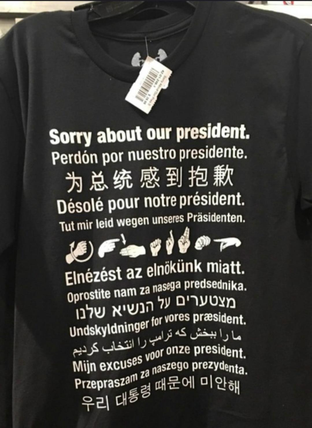 Hilbilly Sorry About Our President многоязычные лозунги унисекс футболки для мужчин и женщин забавная летняя хлопковая Футболка для женщин