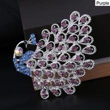 1PC haute qualité paon broche personnalité femme belle Animal oiseau cristal broches usine prix mode meilleurs bijoux