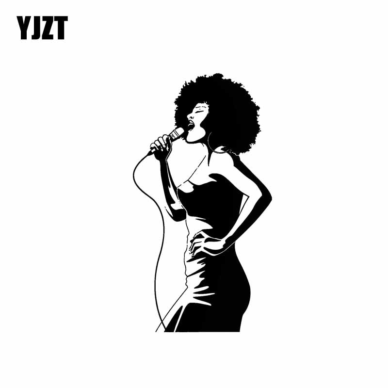 YJZT 7.8*15.3CM Sexy Singing Girl Vinyl Decals Adavanced Popular Style Black/Silver Car Sticker Skillful Manufucature C20-0404