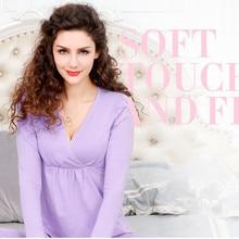 Maternity Nursing long sleeve 2pcs/set Pregnant Women's side front open Sleepwear Breastfeeding pajamas set for Pregnant Women
