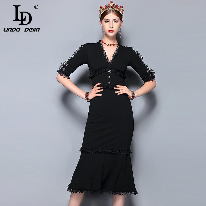LD LINDA DELLA Fashion Runway Summer Dress Women's V-Neck Vintage Black Lace Patchwork Bodycon Sexy Mermaid Party Dress 2018
