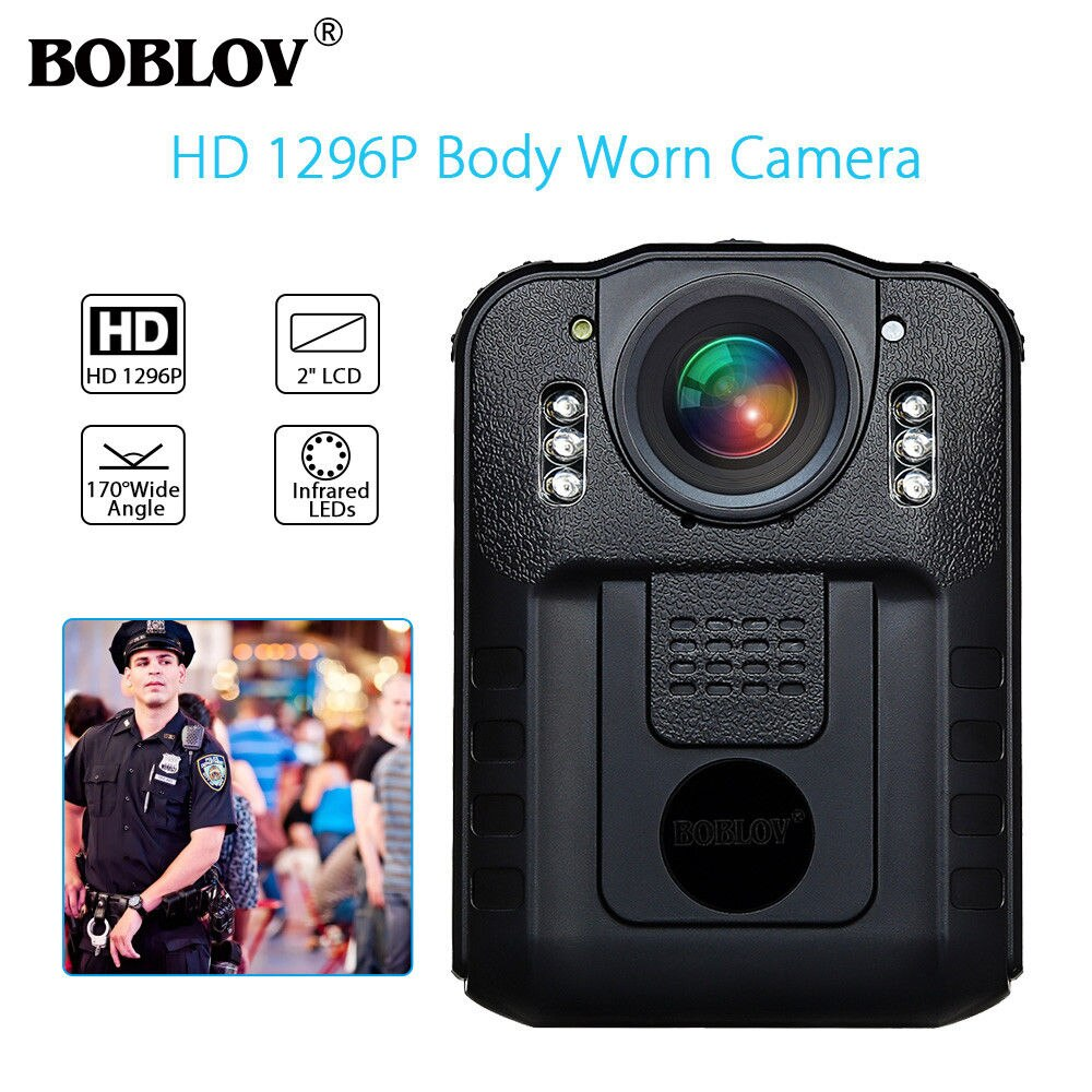BOBLOV WN9 Wearable Body Worn Camera Novatek 96650 HD 1296P Police Cam 170 Degree 2 Inch Screen Security Police Camera