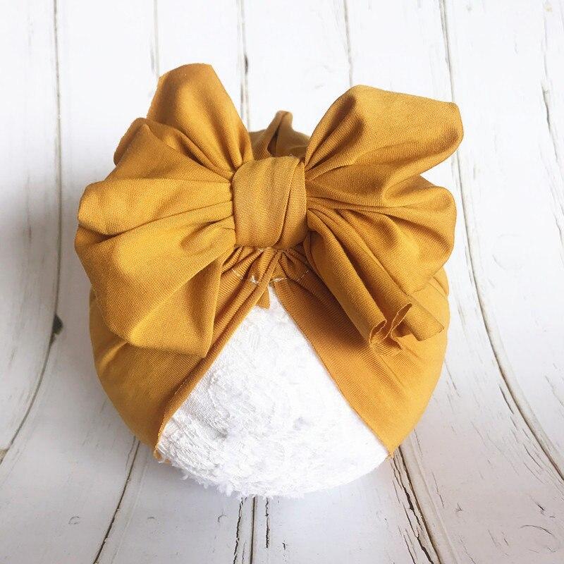 Bonnet de printemps pour bébé   1 pièce, bonnet pour bébé, Turban chapeau en coton avec gros nœud papillon fleur cheveux, nœuds de cheveux, accessoires pour la photographie, 2019