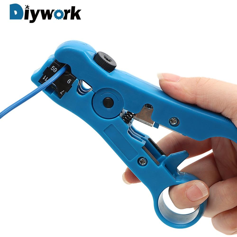 DIYWORK Elektrische Abisolieren Werkzeuge Cutter Striper für UTP/STP RG59 RG6 RG7 RG11 Kabel Draht Zangen