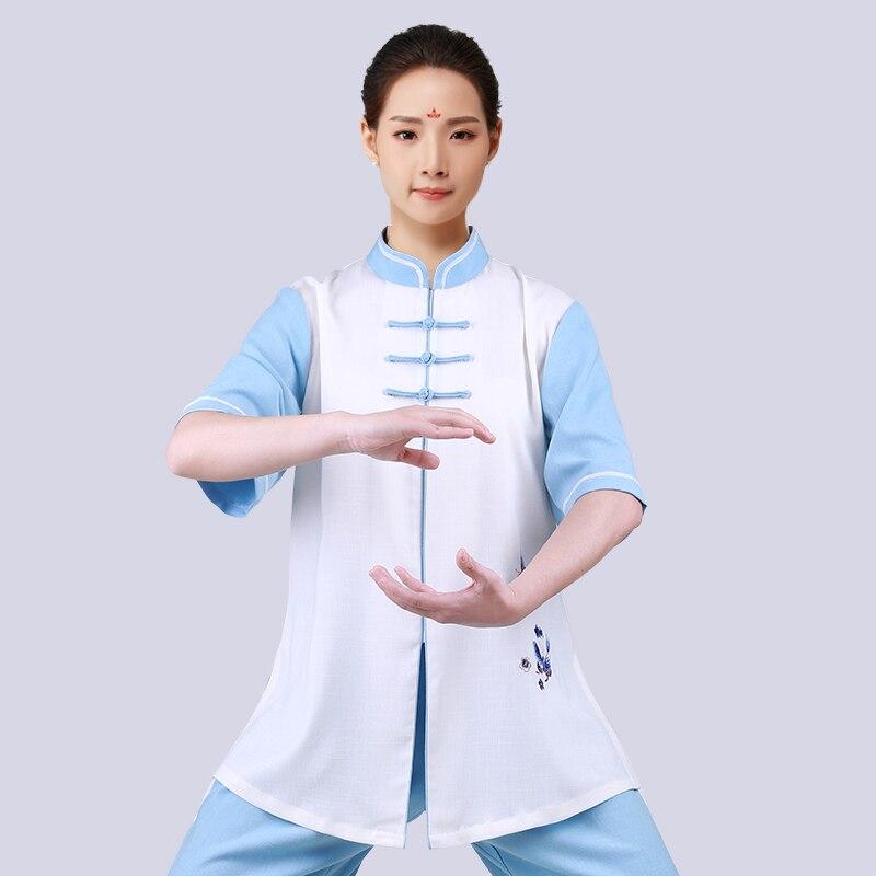 Nouveau motif broderie manche un Art pratique prendre une paire dété moyen âge Performance vêtements manches Tai Chi femme