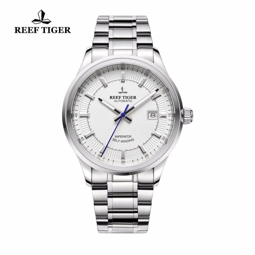 Reef Tiger/RT reloj automático de negocios para hombre, movimiento 316L de acero sólido, superluminoso, de alta calidad, relojes de vestir de lujo RGA8015