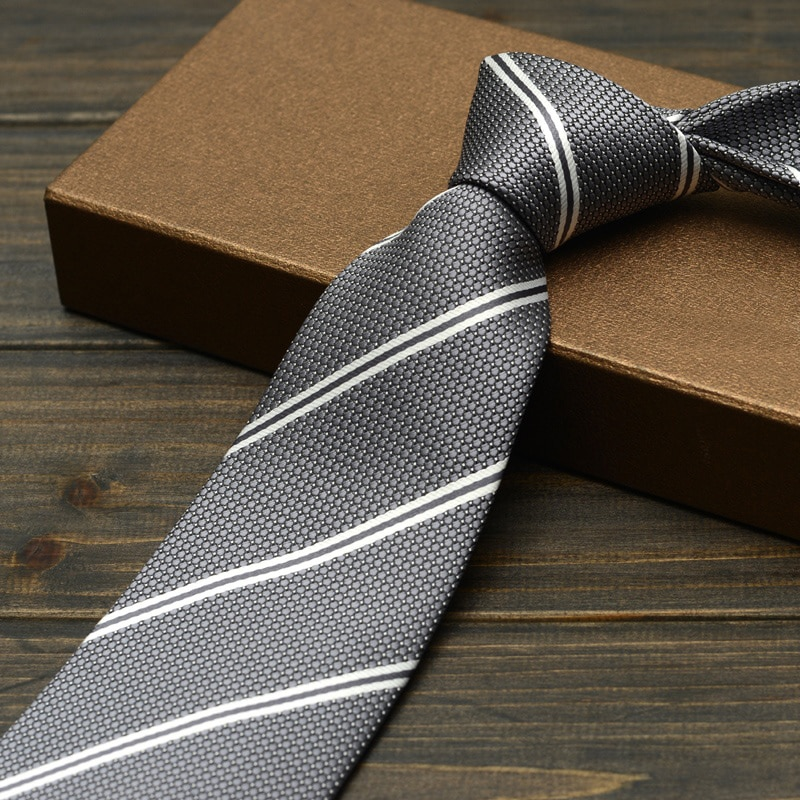 New Mens Ties Brand Classic Jacquard Weave Grey Striped Necktie Fashion 9cm Tie Cravats for Business Formal Work with Gift Box