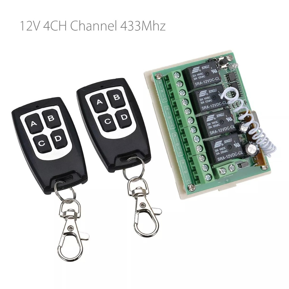 Interruptor de Control remoto inalámbrico de 12V 4CH Channel 433Mhz con 2 transmisores