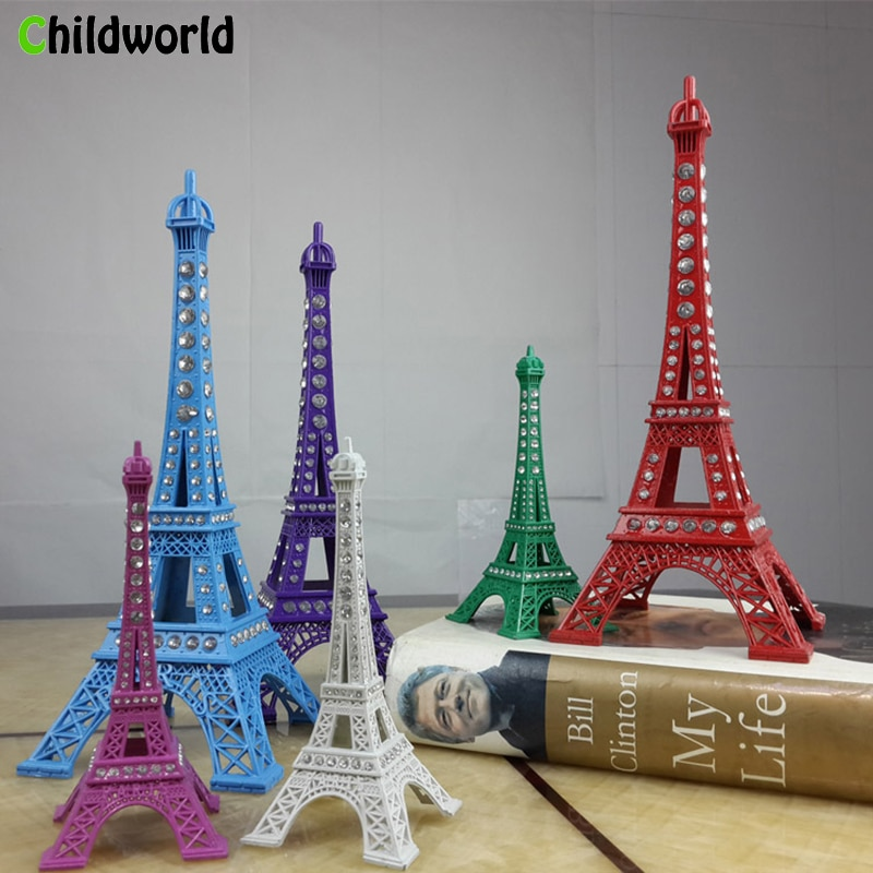 13 cm -25 cm EiffelTower with diamond metal modern model home decoration accessories bedroom desk retro home decor ornaments