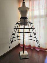 Gothic Victoriaanse Jurk Petticoat 5 Hoepel Crinoline Split Birdcage Onderrok Drukte Fietstas Bruiloft Baljurk Kostuum Accessoire