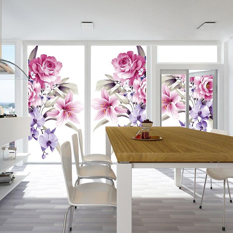 Estático escarchado pegatinas de vidrio sombreado dormitorio Balcón de papel de la ventana pegatinas para ventanas opaco transparente pegatinas en las ventana
