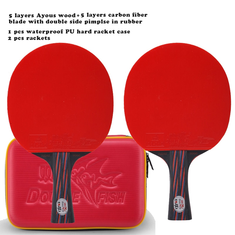 2 rackets 1 racket case New Double Fish Red-Black Carbon fiber Table tennis racket paddle ITTF approved rubber loop fast attack