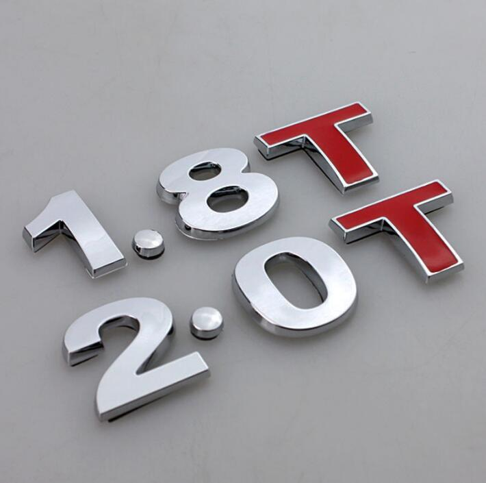 1.8T 2.0T Emblem Sticker Chrome Car Body Rear Fender Tail Badge for Golf GTI MK4 Jetta Passat Beetle A3 A4 A5 A6 TT Car Styling