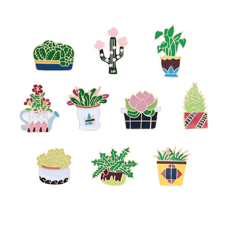 10 видов стилей, милые булавки для растений в горшках, броши С КАКТУСОМ, Значки для цветов, одежда, отворот, булавка для растений, ювелирное из...