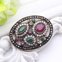 Vintage Türkische Runde Harz Blume Brosche Pin Für Frauen Antike Gold Farbe Corsage Royal Strass Schmuck Damen Hijab Pins