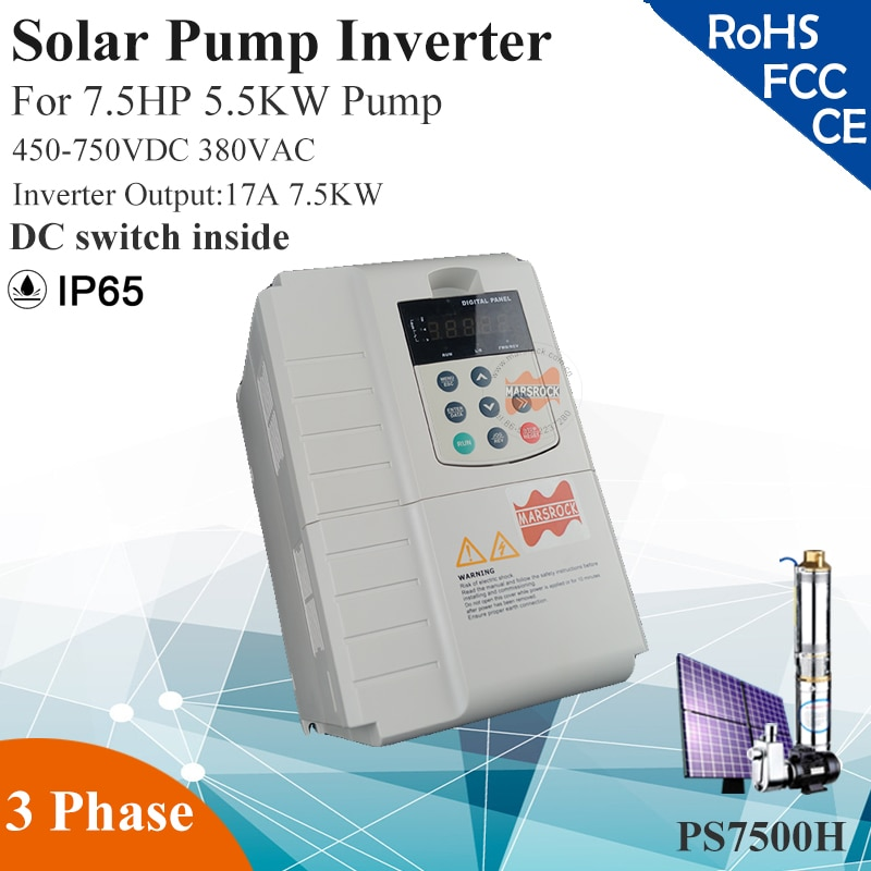 7.5KW 17A 3 fases 380VAC MPPT inversor de bomba solar para 7.5HP 5.5KW bomba de agua DC interruptor dentro PV controlador de bomba solar