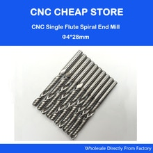 10 teile/los 4mm * 28mm Hartmetall Cnc-fräser-spitzen Einzelne Flöte Spiral Bit Fräser
