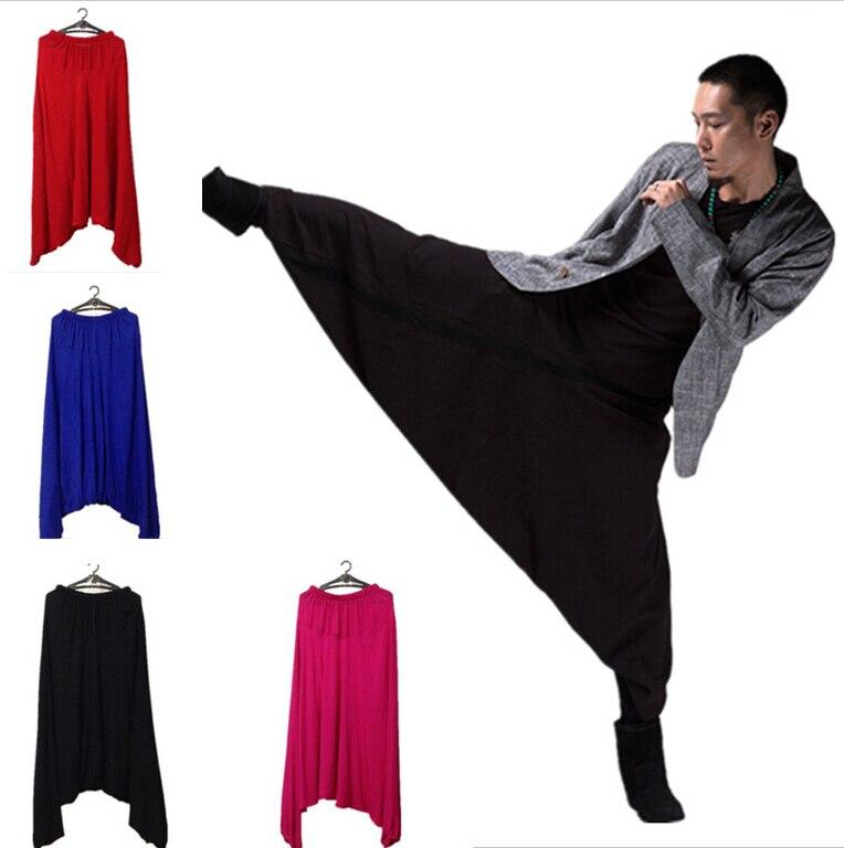Nova moda masculina calças de virilha, masculino algodão calças bloomers, harem calças, calças casuais, calças tamanhos grandes M-5XL