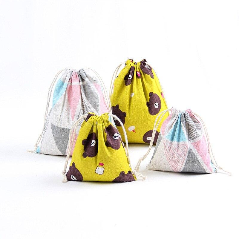Impresión de lino de algodón, venta al por mayor, manojo de cordón, regalo de té, bolsas de caramelo, oso, fruta, monedero inteligente para chicas, bolsas simples