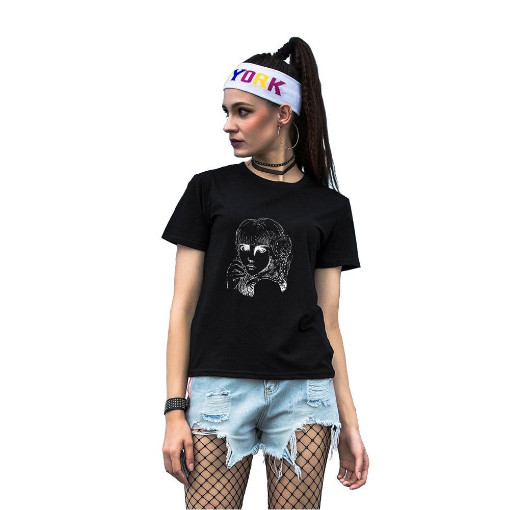 Mujeres de manga corta de algodón cuello redondo hermosa chica impresa camiseta