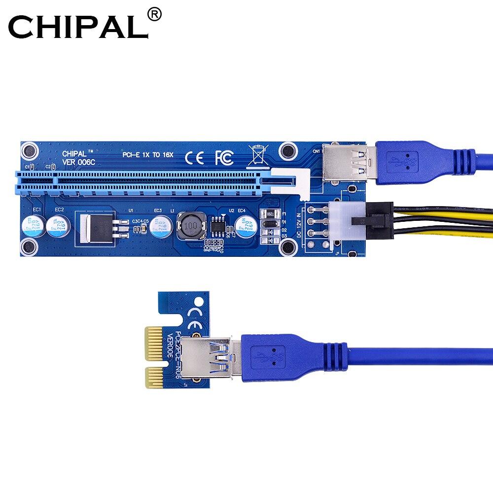 CHIPAL VER006C 60CM PCI-E Riser כרטיס PCIE 1x כדי 16x כבל מאריך + USB 3.0 כבל/SATA כדי 6Pin כבל חשמל עבור BTC ביטוח סיעודי