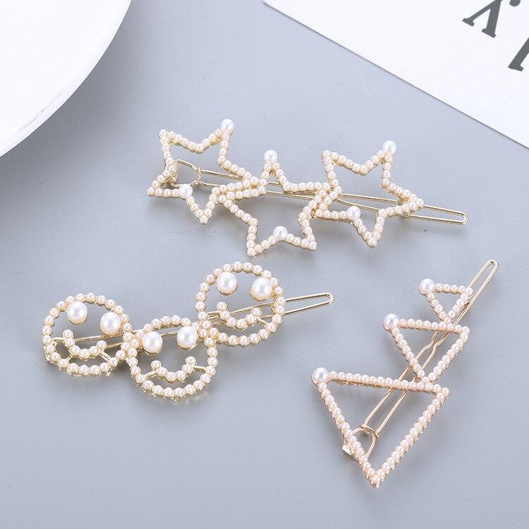Moda coreana bonita perla de imitación hueca estrella de cinco puntas triángulo Smiley horquilla accesorios simples para el cabello para mujeres