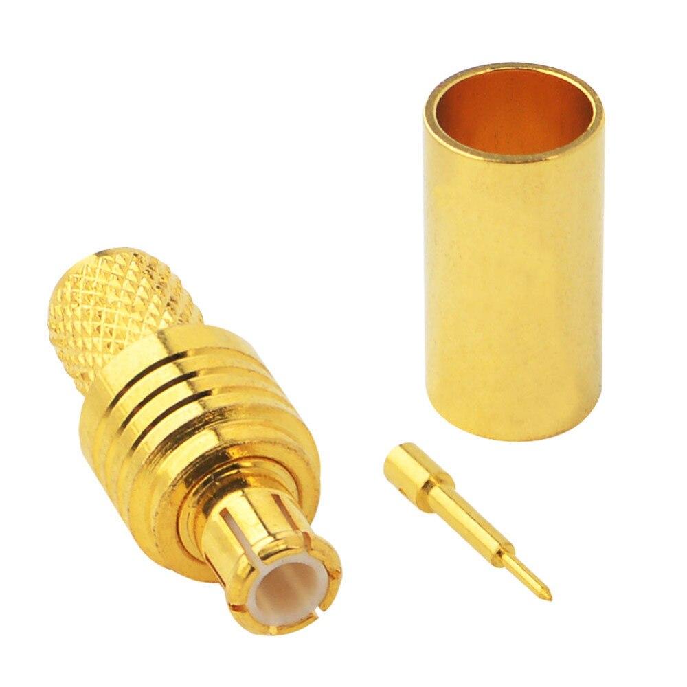 10 peças MCX Crimp Plug coaxial RF conector para LMR195 RG58 RG142