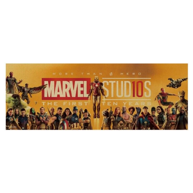 159 herói filme/herocomics 10 anos herói conjunto/papel kraft/bar cartaz/adesivos de parede/retro cartaz/pintura decorativa 72.5x26cm