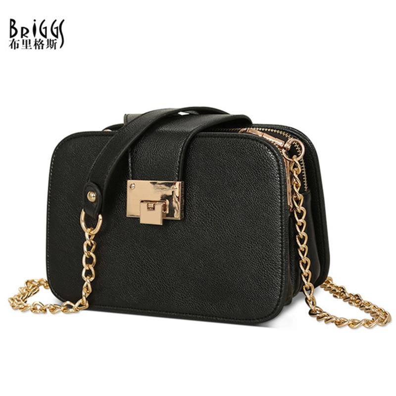BRIGGS Chains Flap Women Handbag Zipper&Hasp Shoulder Bag PU Leather Messenger Bag Small Ladies High Quality Female Bags
