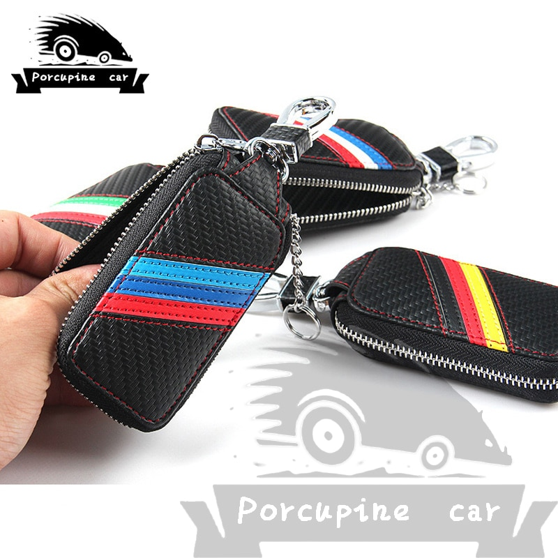 Carbon fiber cloth Leather Car Key Case for Audi Mercedes Peugeot Toyota Vw Skoda Bmw Hyundai Protector Case Covers Car Key Bag