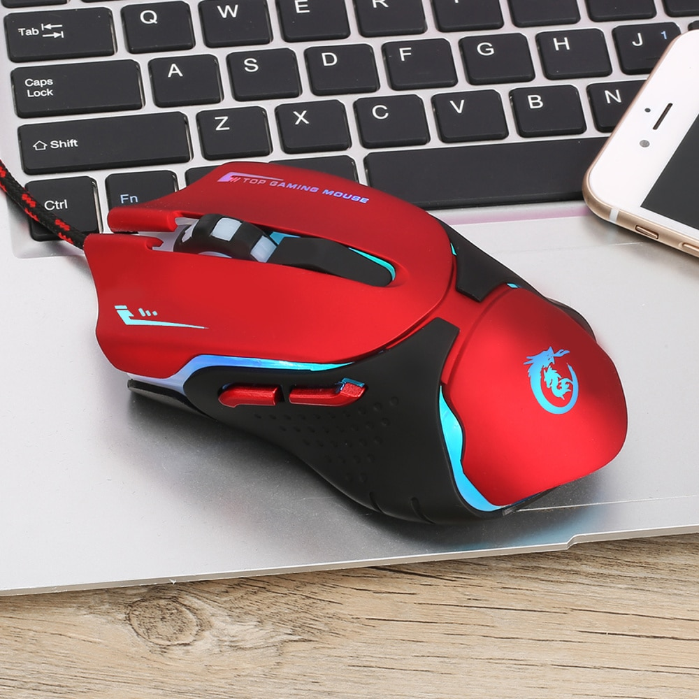HXSJ 3200DPI Sound Click USB Wired Gaming Mouse Gamer 6 Buttons Optical Ergonomics Computer Mice For PC Mac Laptop Game LOL