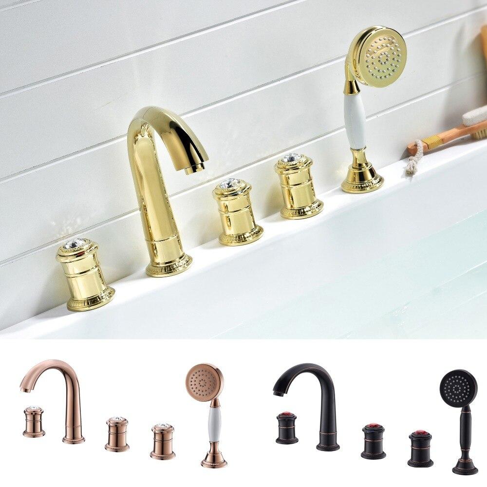 5 otwory powszechne Roman wanna prysznic kran kryształ armatura łazienkowa z kranu z prysznicem recznym różowe złoto/złoto/Antique orb/ chrome taką opcję,