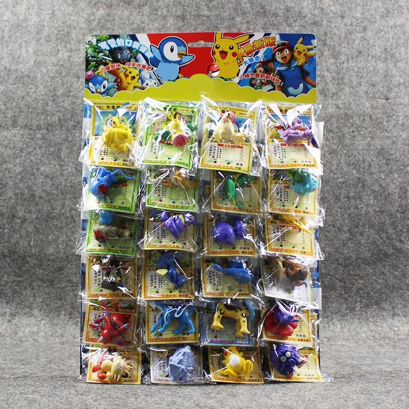 24 unids/lote figuras de bola juguetes 2-6cm bola Charizard Eevee Bulbasaur Suicune PVC Mini modelo juguetes con tarjetas