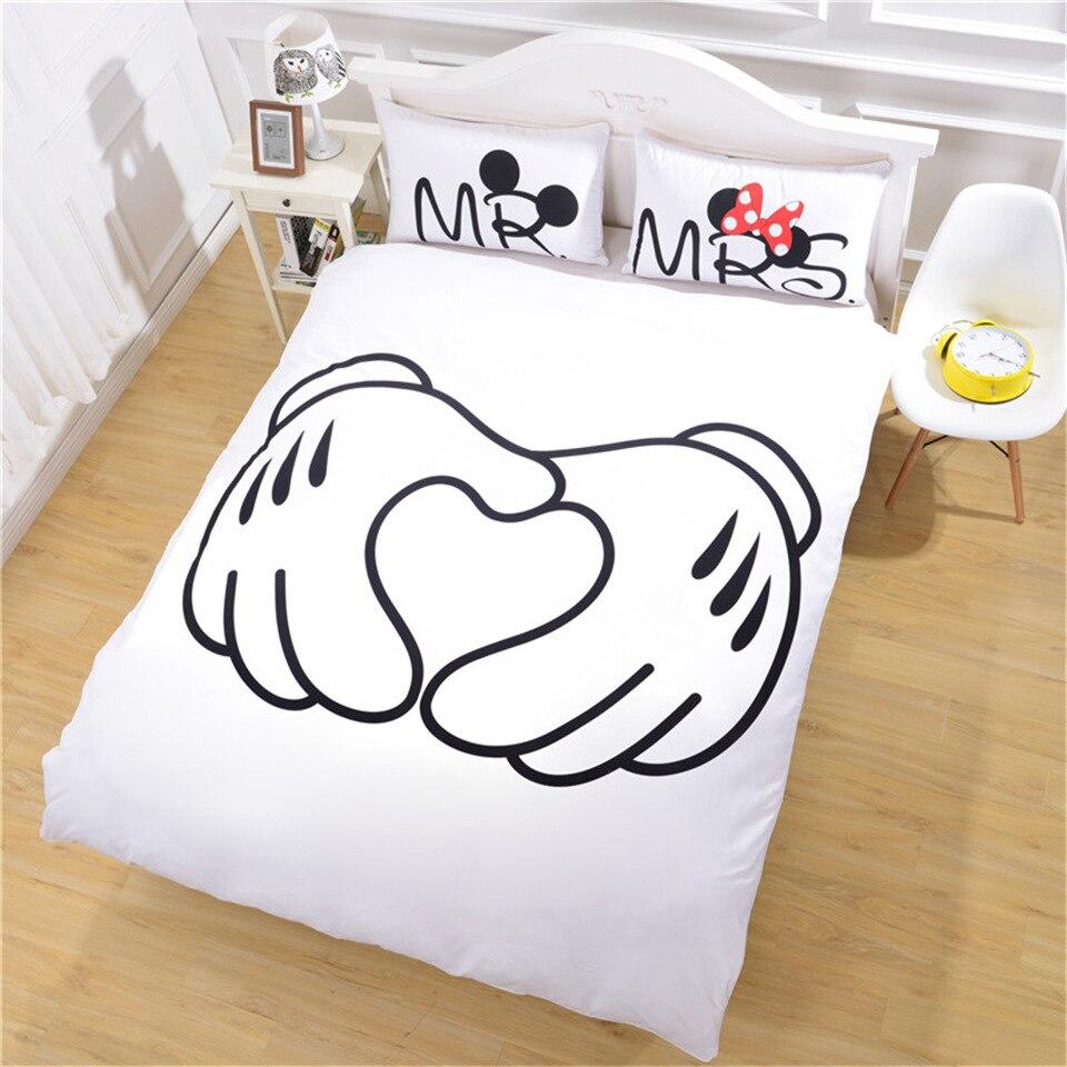 Disney Mickey Minnie ropa de cama Set 3 uds negro blanco colcha conjunto doble adulto completa ropa de cama tamaño king hojas decoración regalo