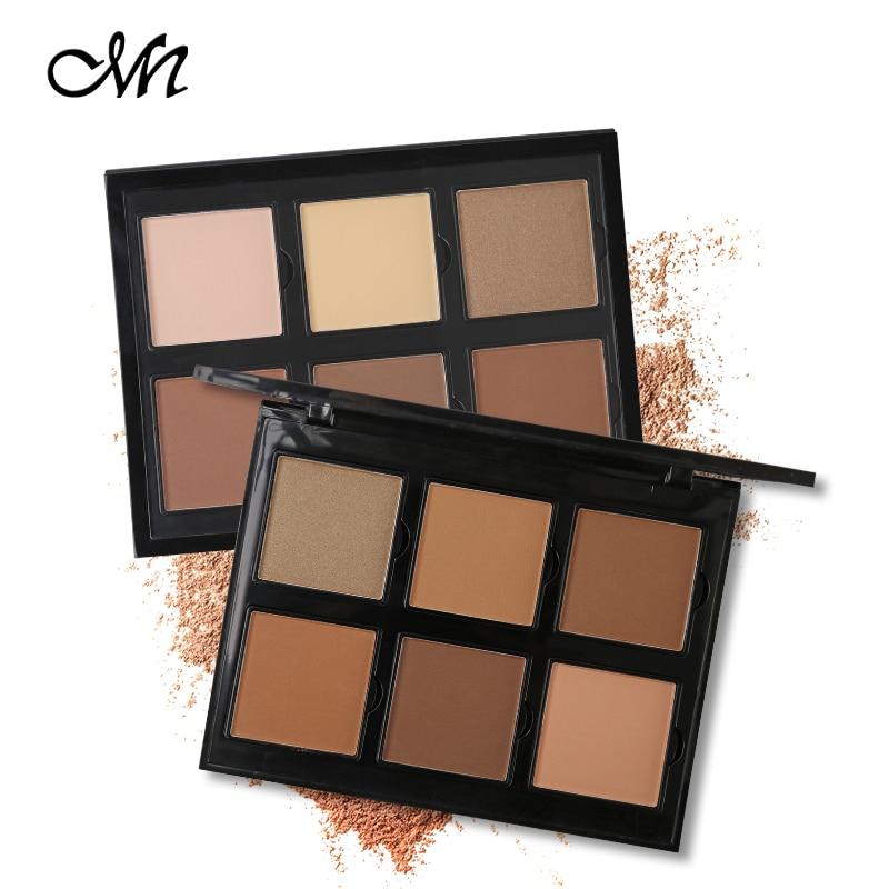 Marca Menow de moda maquillaje de ojos maquillaje mate sombra de ojos paleta 6 colores sombra de ojos contorno polvo Kit brillo tono bronceado Natural