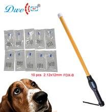 Scanner à micropuces 134.2khz   Long bâton de sécurité, lecteur didentification des animaux de compagnie avec 10 pièces, injecteur détiquettes en verre