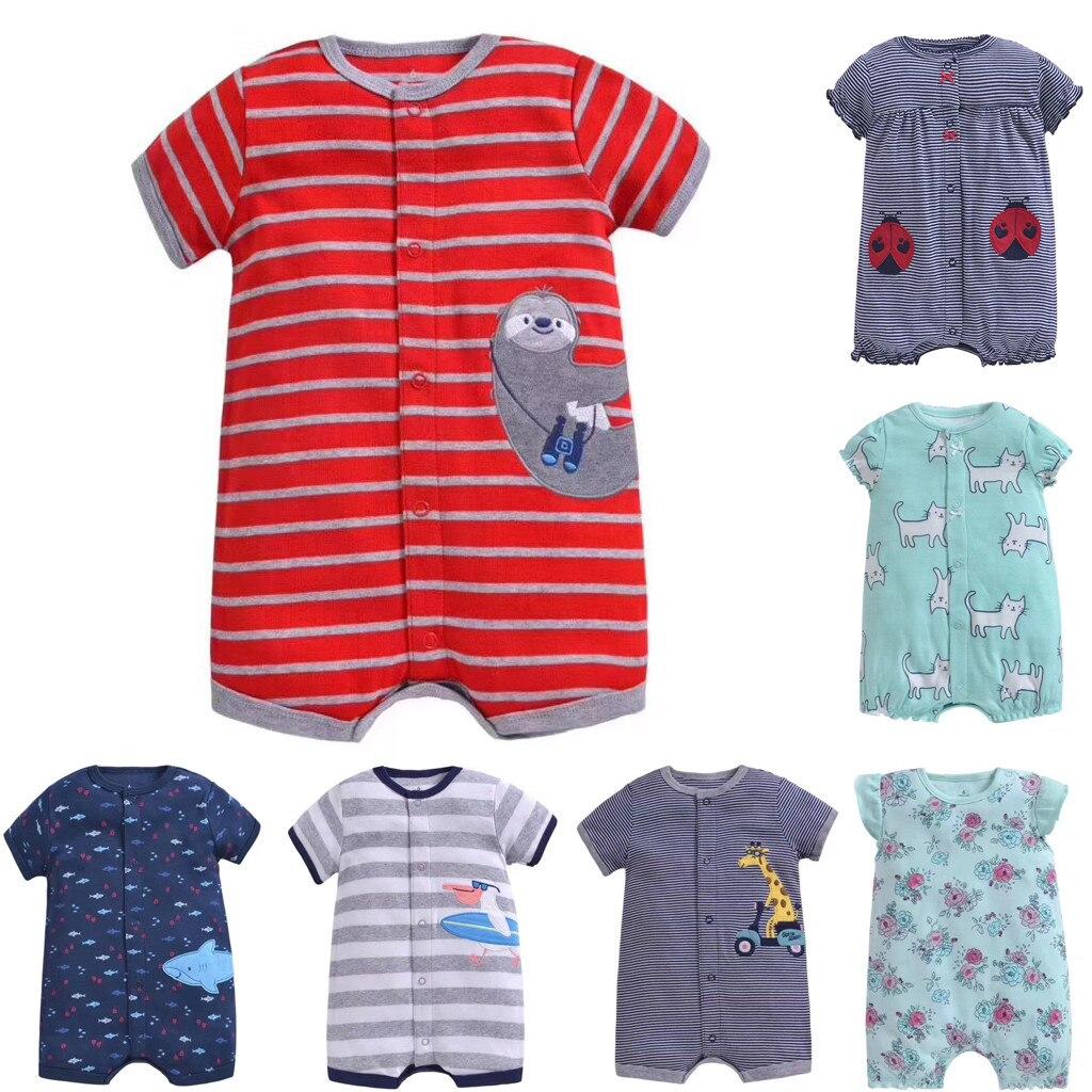 Ropa para bebés recién nacidos, verano 2020, mono con estampado de dibujos animados para niños pequeños, ropa a la moda para bebés, ropa para bebés mamelucos bebe verano