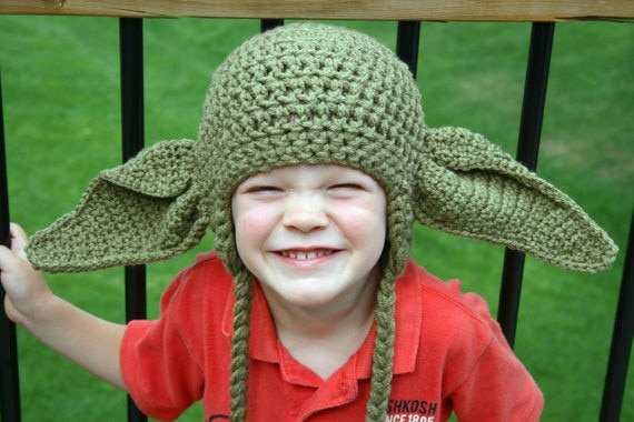Детская вязаная крючком шапка уши Йоды, 100% хлопок, вязаная крючком Детская шапка уши Йоды, шапка уши Йоды для мальчиков, воодушевленная шляпа Звездные войны, бесплатная доставка
