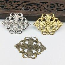 20 pièces 30x42mm filigrane fleur enveloppe métal breloques pour embellissement Scrapbook bijoux à bricoler soi-même métal artisanat Cosplay accessoires