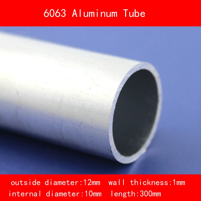 Diámetro externo 12mm diámetro interno 10mm grosor de la pared 1mm longitud 300mm 6063 tubo de aluminio Material DIY