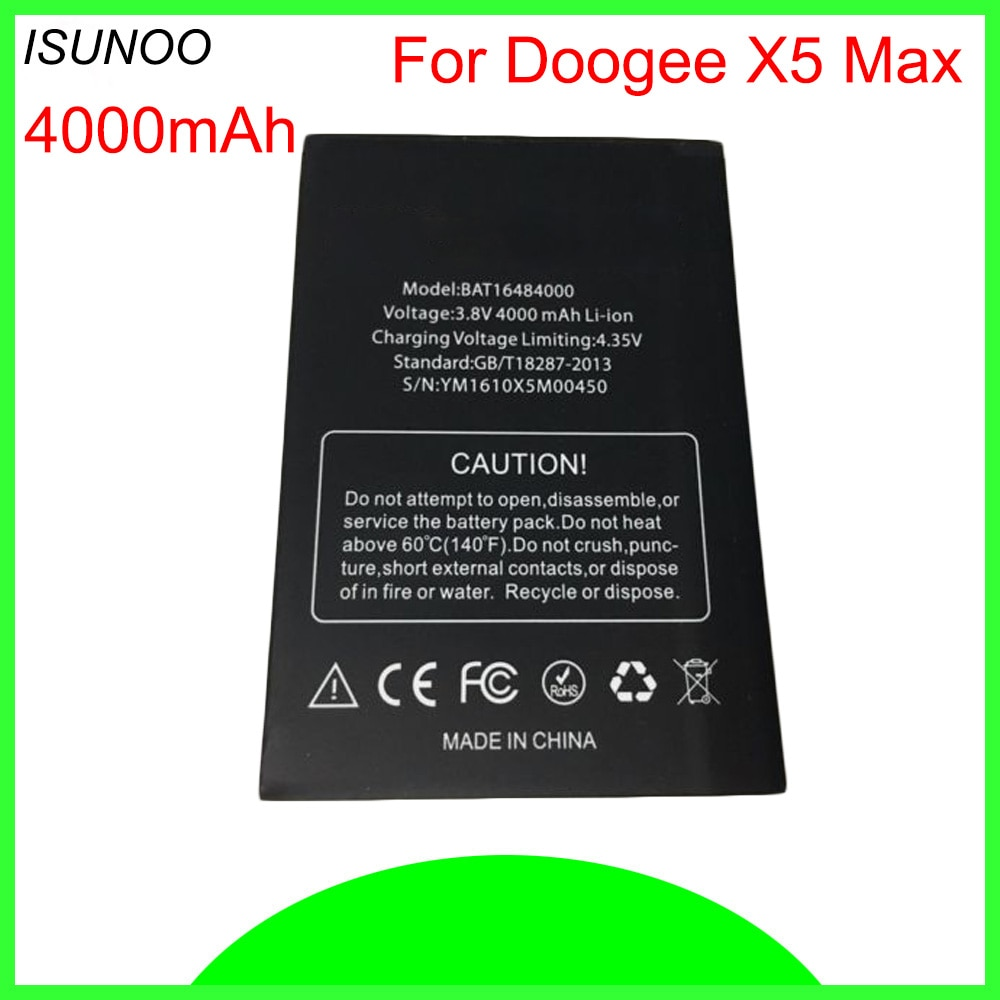 Batería ISUNOO para Doogee X5 Max batería de alta calidad 4000mAh batería acumulador para Doogee X5 Max Pro