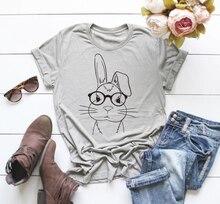 Nerd Bunny tshirts with Glasses T-Shirt unisex graphic women fashion cotton aesthetic camisetas funny art tumblr vintage tee top