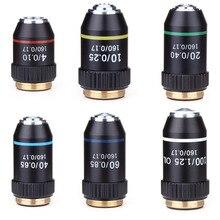 195 objetivo acromático negro 4X 10X 20X 40X 60X 100X lente de objetivo de microscopio de alta calidad RMS 20,2mm piezas de objetivo