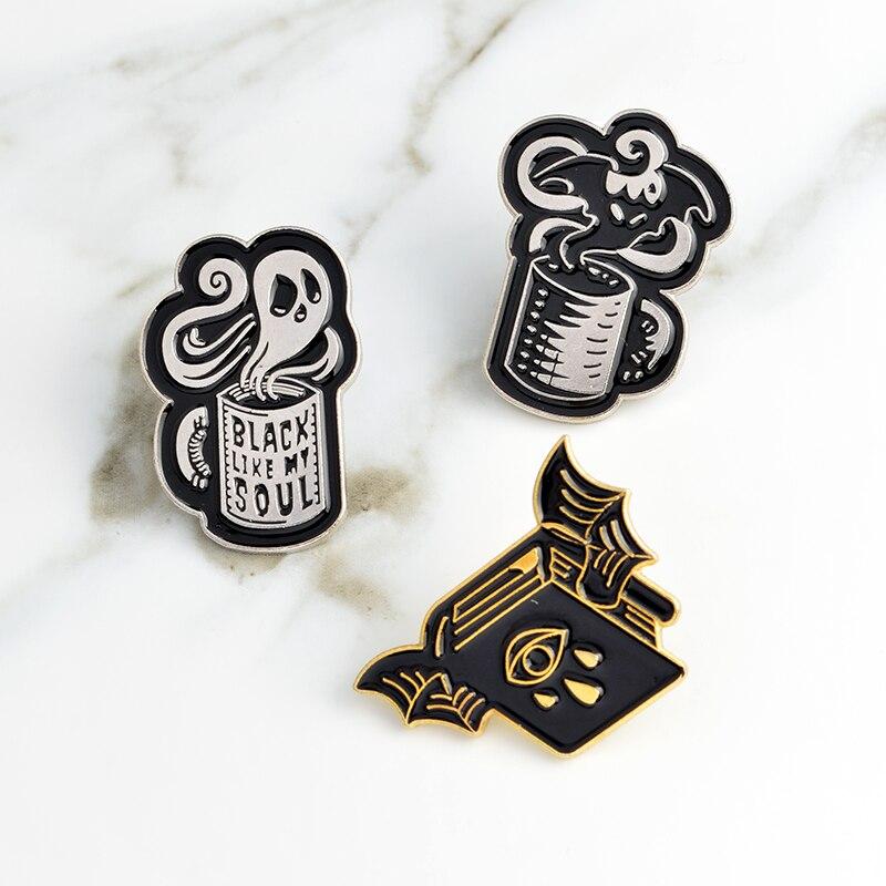 Taza esqueleto cráneo murciélago Pin Punk pin broche distintivo esmalte Pin pin mochila bolsa chaqueta accesorios de las mujeres de los hombres broche