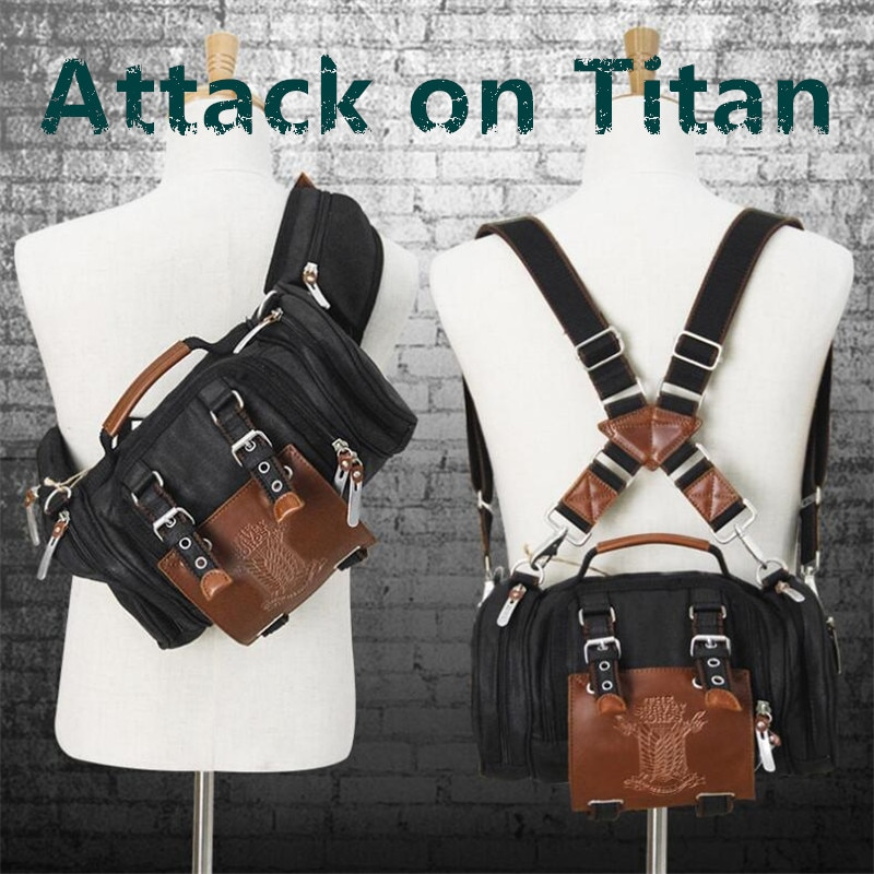 Hot Japan Anime Attack on Titan Backpack Cosplay Scout Regiment Jiyuu no Tsubasa Messenger Bag Canvas Handbag Student Fancy Gift