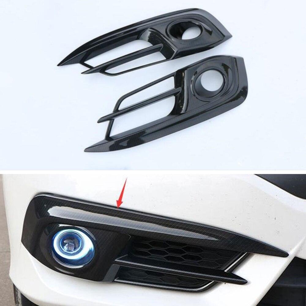 2 pc/set cores de fibra carbono frente do carro olhar luz nevoeiro da frente capa guarnição para honda civic 10th gen 2016 2017 estilo do carro acessórios