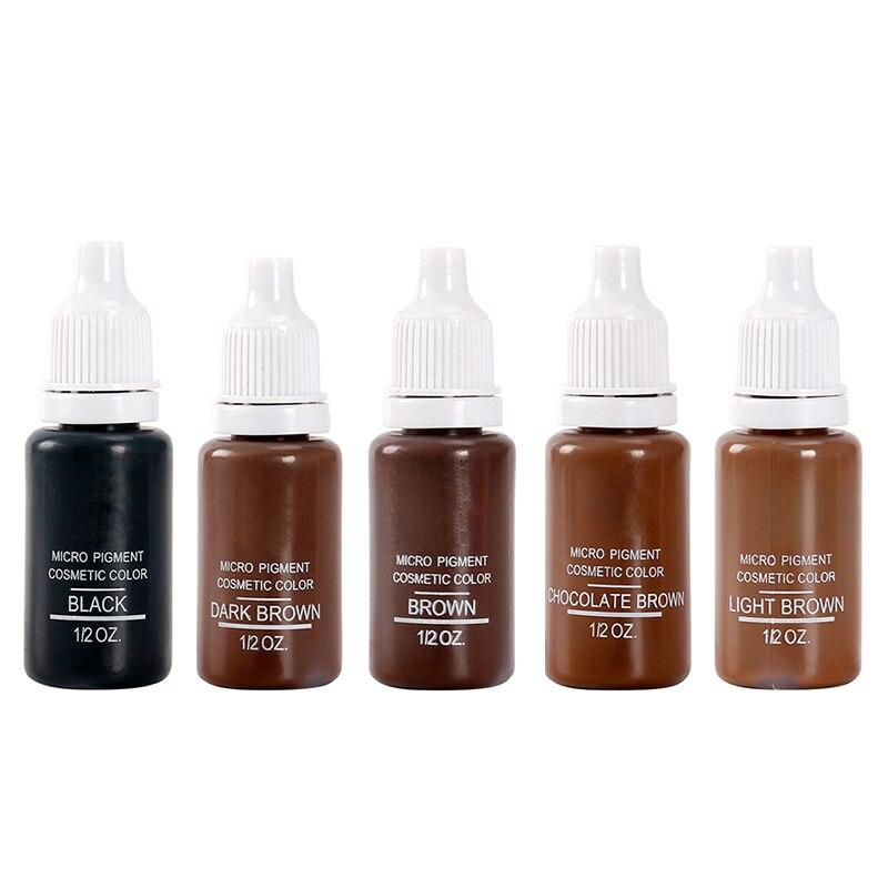 Набор пигментов для перманентного макияжа, 5 бутылок, 1/2 унции, микро-набор пигментов, чернила для татуировки, 15 мл, набор для тату, бровей, губ, макияж, смешанный цвет