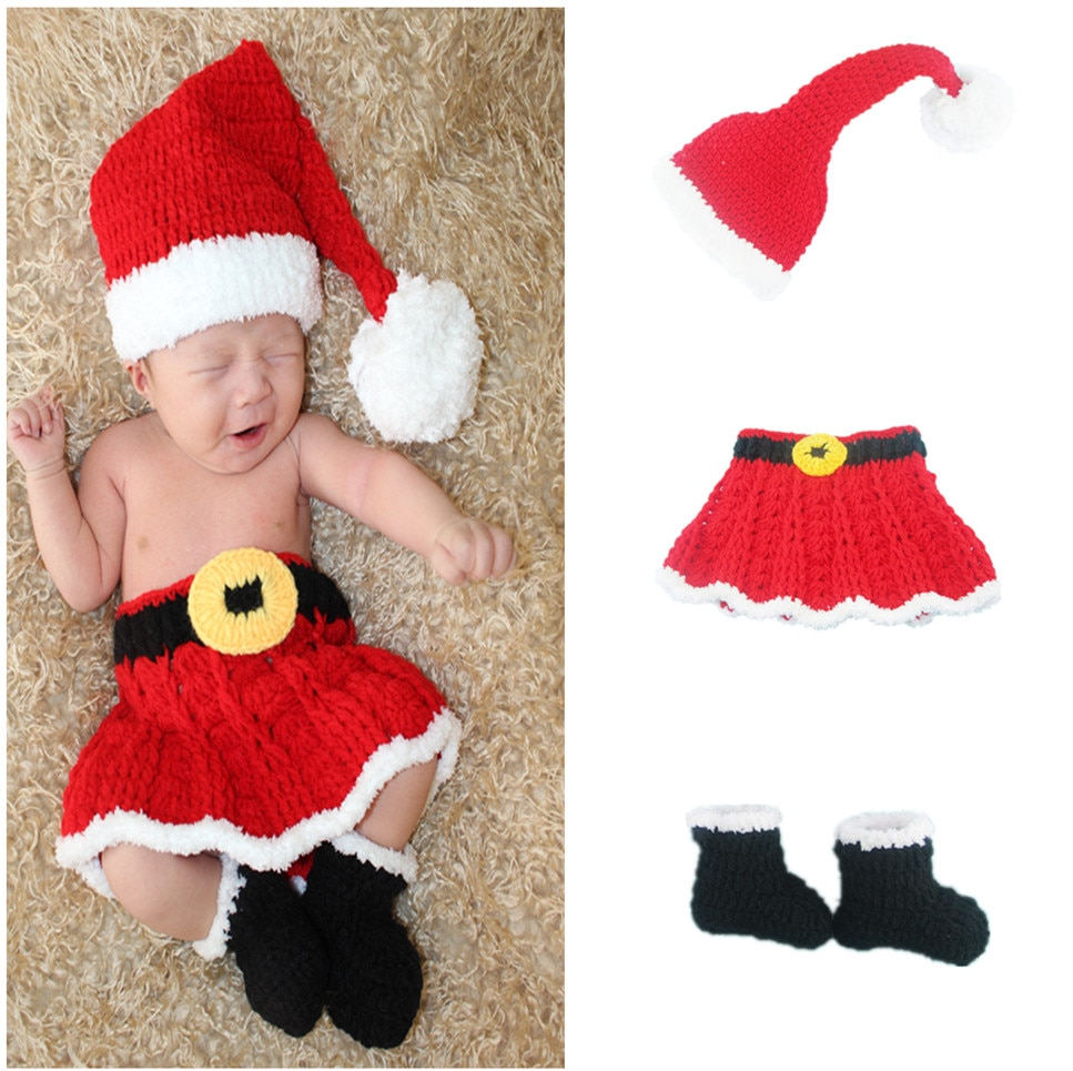Newborn baby clothes girls Christmas party photography clothing mini gift Christmas photo props lovely 3 times 0-3m